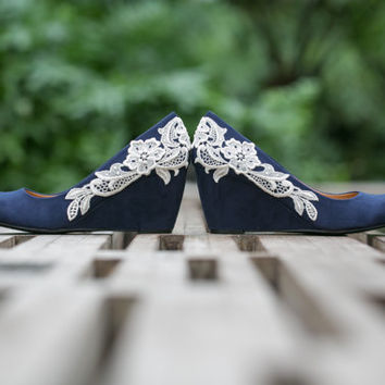 Wedding Shoes - Navy Blue Wedges, Bridal Heels with Ivory Lace. US Size 8