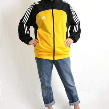 Vintage 90's Yellow Black White Stripes Sport Track Jacket, Adidas Windbreaker, Trefoi