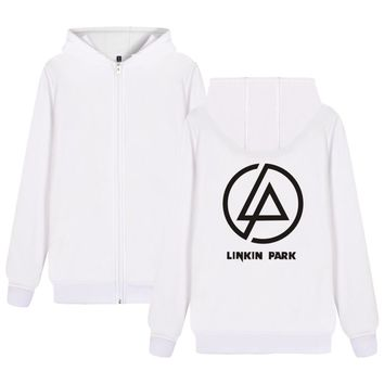 Winter Bomber Jacket Men Brand Casual Zip Thicken Cardigan Hip Hop Linkin Park Rock Band Hoodies And Black Sweatshirts