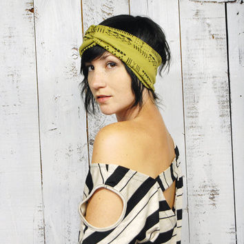 Giza Turban - Moss Green - Earwarmer  Headband Turban Native Tribal African Print Scarf - Hand Printed Jersey by Bark Decor