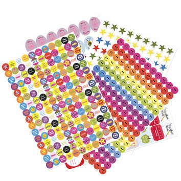 1000+ Childrens Kids Reward Stickers Smiley Faces School Teacher Merit Classroom Motivational Stars Resources Labels Prizes Large A4 sheets