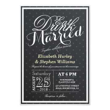 EAT Drink and Be Married Black & White Polka Dots Card