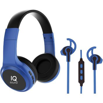 Iq Sound 2-in-1 Bluetooth Headphones And Earbuds With Microphone Combo (blue)