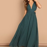 Open Back Ruched Top Flowy Prom Dress