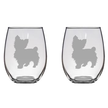 Yorkshire Terrier Engraved Glasses Dog, Pet Lover, Yorkie Free Personalization