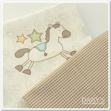 100*160cm width printed cartoon horse baby quilting fabric by meter DIY sewing patchwork fabric sheet fabric by meter