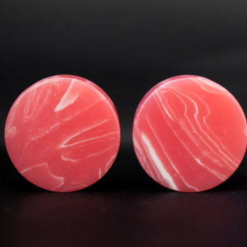 """Pink Lace Agate 6g 4g 2g 0g 00g 1/2"""" (12mm)"""