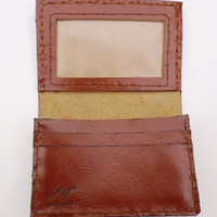 brown cco leather mini wallet card holder