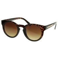zeroUV - New European Womens Fashion Round Horn Rimmed Sunglasses w/ Key Hole Bridge