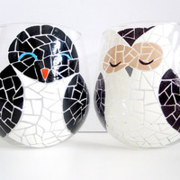 Penguin and Owl Mosaic Wine Glasses by SwirlyGarden on Etsy