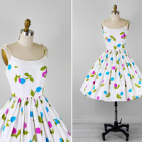 50s dress / 60s dress / White, Purple, Teal, and Green Floral Print Tulips Sundress