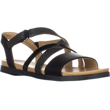 naturalizer Kandy Flat Strappy Sandals, Black, 7.5 US / 37.5 EU