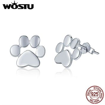 WOSTU 11.11 Sale Real 925 Sterling Silver Cute Dog Footprints Tiny Stud Earrings for Women Party S925 Silver Jewelry Gift CQE407