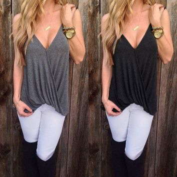 Sleeveless Top Women Plunge V Neck Blouse T-Shirt Blouse Vest Summer Tank Tops
