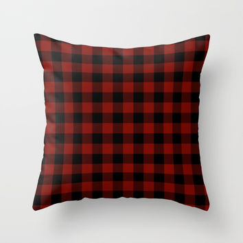 Vintage New England Shaker Large Barn Red Buffalo Check Plaid Throw Pillow by podartist