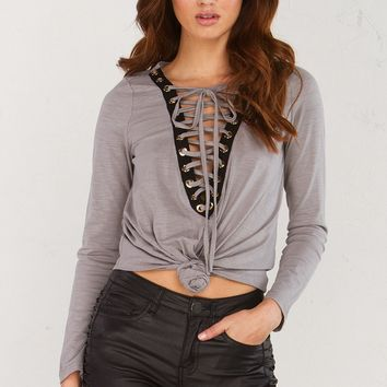 Lace Up Long Sleeve Top in Dark Grey