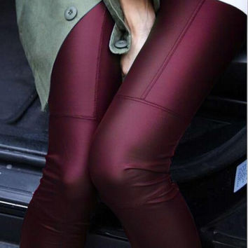 New 2016 Spring Fashion woman Full Leather Patchwork Repair The Fitting Female Ankle Length Trousers Faux Leather pants
