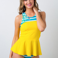 Peplum Yellow-Dot Tankini Top