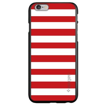 DistinctInk® Spigen ThinFit Case for Apple iPhone or Samsung Galaxy - Red & White Bold Stripes