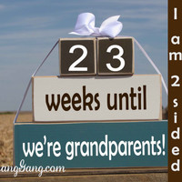 """New Grandparent countdown. Wood Blocks. Pregnancy announcement. """"weeks until we're grandparents"""". Mother's Father's Day. BLUE,WHITE,BROWN"""