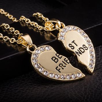 Best Friend Unisex Mens Womens Heart Pendant Necklace Jewelry Chain GD