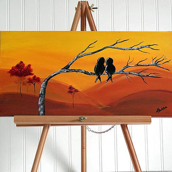 Original Canvas Painting Love Bird Painting Red Yellow Orange Wedding Gift for Couple Love Birds Art Fall Decor Anniversary Gift for Couple