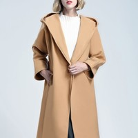 Camel Tie Waist Wool Longline Hooded Coat