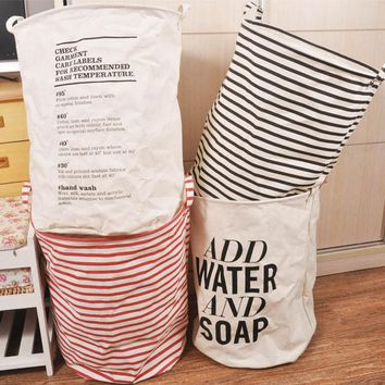 Foldable Laundry Basket Home Washing Sorter Hamper Cotton Linen Toys Storage Bag Striped Organizer