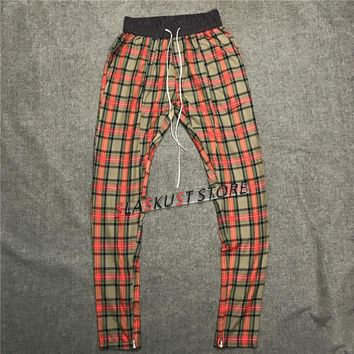 Quality Kanye West Red Plaid Tartan Track Pants Men Zipped Ankles Skinny Fit Drawstring Trouser Free Shipping