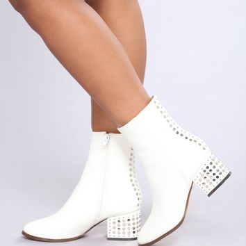 Fame Studded Boot - White