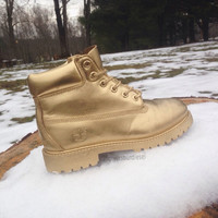 Gold Timberland Boots (Womens Sizes)