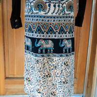 Vintage 70s Wrap Skirt Ethnic Hippie Elephants Peacocks INDIA Short Hippie Skirt 34 Waist