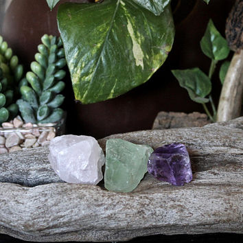 Set of 3 Raw Stones including Rose Quartz, Ametrine, Green Fluorite, Raw Healing Crystal Stone Set, Pagan, Reiki, Chakra, Meditation