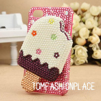 Ice cream iphone case bling bling crystal iphone 4 case by hicase