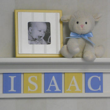 "Baby Blue and Yellow - Baby Boy Nursery Decorations - Baby Name Sign Personalized for ISAAC - 24"" Linen White Shelf 5 Wooden Letter Tiles"