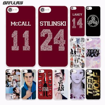BiNFUL ETFC-156 Teen Wolf Stilinski 24 McCALL 11 design hard White Case Cover for Apple iPhone 7 6 6s Plus SE 5 5s 5C 4 4s phone