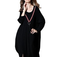 Women's Cotton Black Dress Long Sleeve Casual Loose Fitting Plus Size Autumn Spring