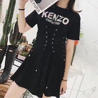 """KENZO"" Fashion Personality Letter Print Crisscross Bandage Drawstring Short Sleeve T-shirt Mini Dress"