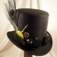 STEAMPUNK HAT - Men's Black Topper - Top Hat with Goggles & Clock Parts and peacock feather - Steampunk Wedding - Steam punk - black top hat