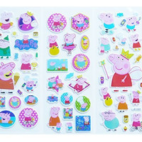 3 Sheets Peppa Pig Puffy Stickers