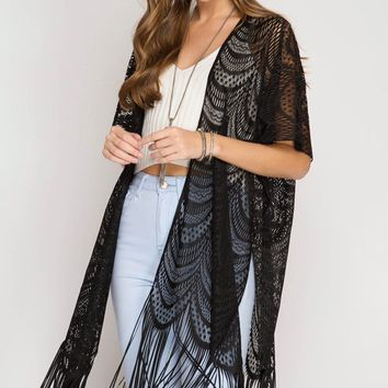 Short Sleeve Lace Open Cardigan with Fringed Hemline - Black