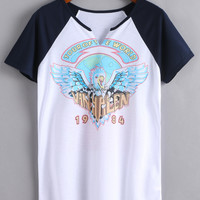 White Print V Cut Raglan Sleeve T-shirt