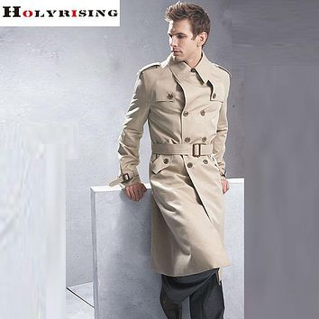S-6XL Long Trench Coat Men Classic Fashion British Leisure Slim Fit Windbreaker Double Breasted Solid Beige Wind Coat