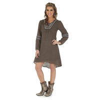 Wrangler Solid Dress with Embroidery at Center Front Neck - Chestnut