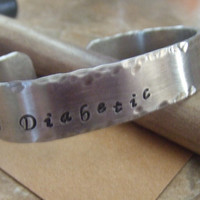 Medical Alert ID Bracelet - Personalized Handstamped Silver Cuff Bangle Bracelet
