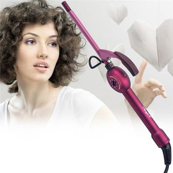 CkeyiN Fashion Single-tube Deep 9 MM Super Small Mini Tourmaline Ceramic Curling Iron Wand Pear Hair Curler Roller 37
