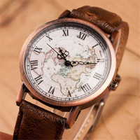 World Map Casual Sports Wirst Watch