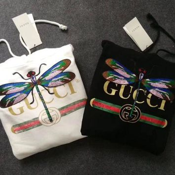 GUCCI Hot Sale Embroidery Blouse loose type Hoodie Sweatershirt Black