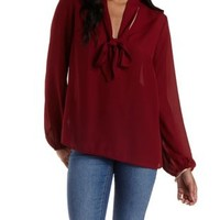 Burgundy Tie-Neck Long Sleeve Chiffon Top by Charlotte Russe