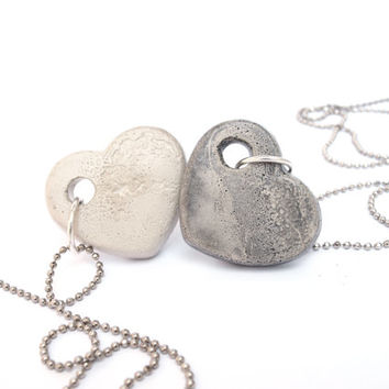 Love necklace, Heart necklace, geometric jewelry, unique urban minimalist jewelry, Statement necklace, Valentine's Day,Concrete Jewelry